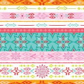 Seamless summer colorful aztec vintage folklore background pattern in vector