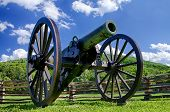 image of battlefield  - Civil War era cannon overlooks Kennesaw Mountain National Battlefield Park - JPG