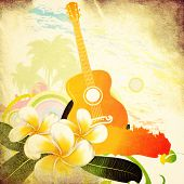 stock photo of coco  - Abstract grunge tropical background with palm trees white plumeria flowers and guitar - JPG