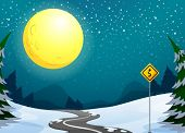 picture of long winding road  - Illustration of a long winding road under the bright full moon - JPG