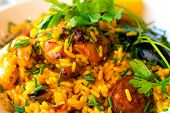 stock photo of saffron  - Prawn with rice  - JPG