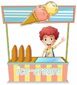 Illustration of a boy selling ice cream on a white background