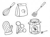 stock photo of cake-mixer  - Illustration of a doodle set of kitchen utensils - JPG