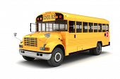 image of truck-stop  - 3d school bus on white background - JPG