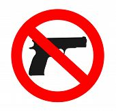 image of ban  - no weapons sign graphic handgun vector illustration - JPG