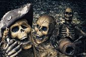 stock photo of plunder  - Three Skeleton Pirates Portrait - JPG