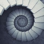 stock photo of climbing wall  - Design spiral staircase made of concrete - JPG