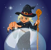 pic of witch ball  - Illustration of a witch with a cane in front of a magical ball - JPG