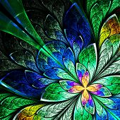 pic of computer-generated  - Beautiful fractal flower in yellow green and blue - JPG