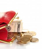 foto of bereavement  - female red wallet with money isolated on white - JPG