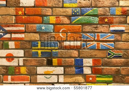 Wall With Flags