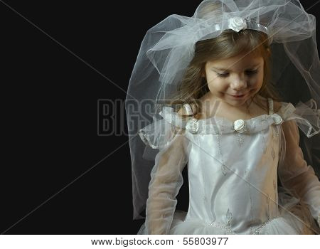 Girl In Wedding Dress & Veil