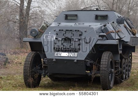 Kiev, Ukraine - November 3: German armored truck is displayed on the Field of Battle military history festival on November 3 , 2013 in Kiev, Ukraine