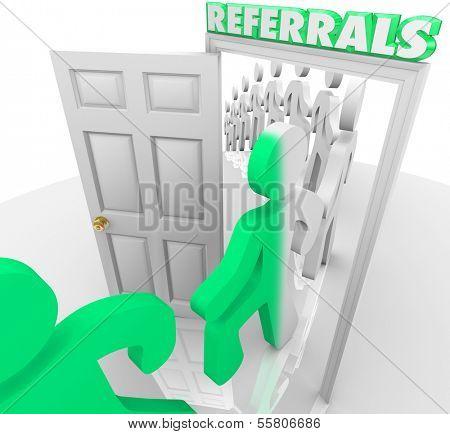 Referrals Customers Walk Through Store Doorway