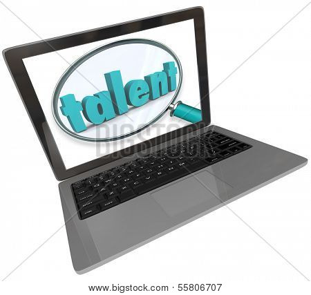 Online Talent Search Magnifying Glass Computer Laptop