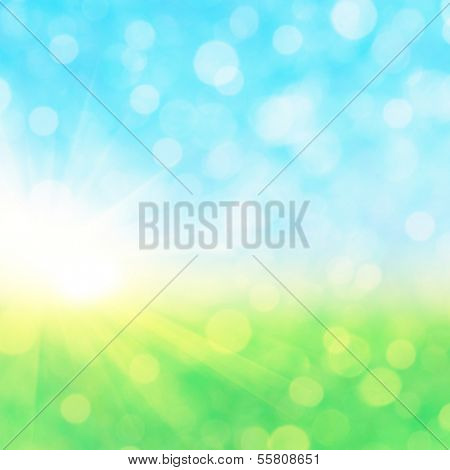Abstract defocused nature background with bokeh lights.