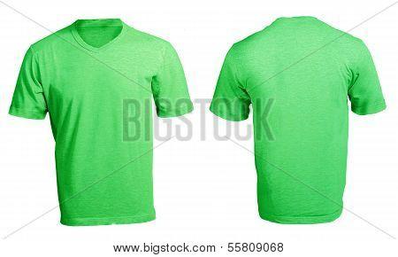 Men's Blank Green V-neck Shirt Template