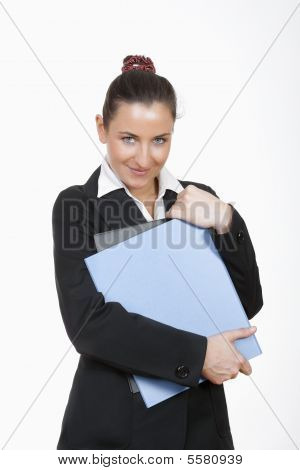 Woman Holding Files