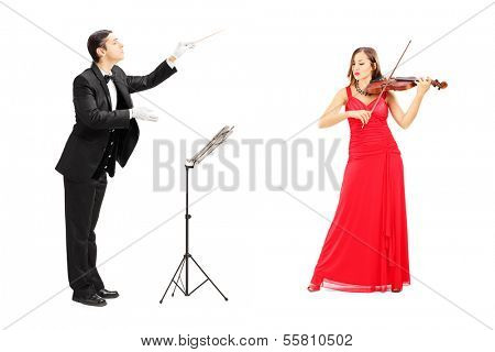 Male orchestra conductor directing a female playing violin isolated on white background