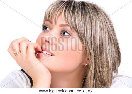 Skittish And Pensive Woman Portrait