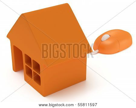 Computer mouse with house isolated on white