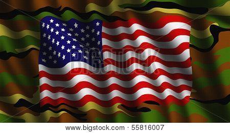Camouflage American Flag Illustration