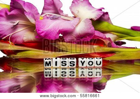 Miss You Message With Green And Pink Stem