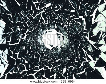 Shattered Black Glass Pattern And Hole On White