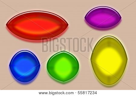 Five Colorful Buttons