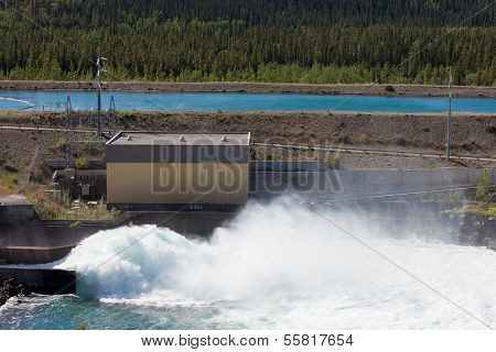 Hydro Power Station Dam Open Gate Spillway Water
