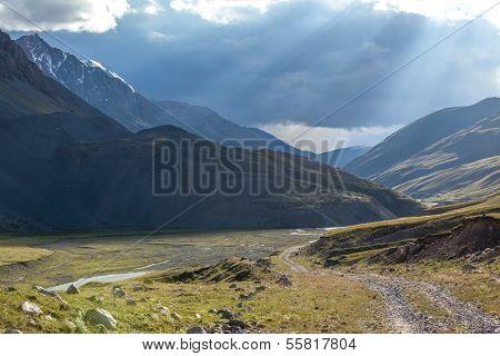 Wonderful landscape of road in Kyrgyzstan