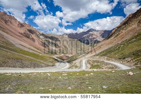 Road going to Barskoon pass. Kyrgyzstan