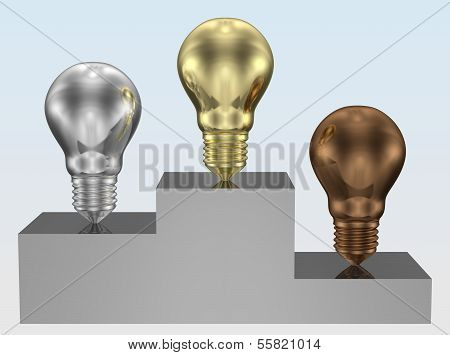 Golden, Silver And Bronze Light Bulbs On Pedestal