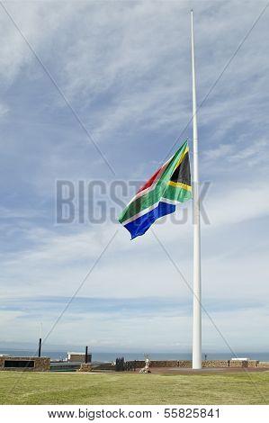 South African flag half mast
