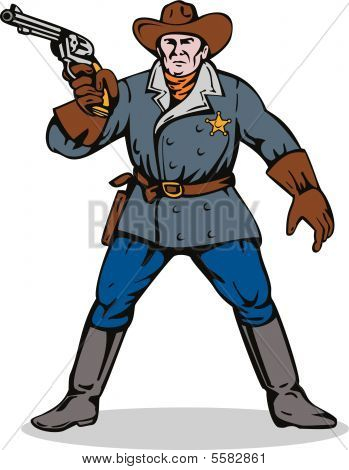 Cowboy sheriff pointing a gun at you
