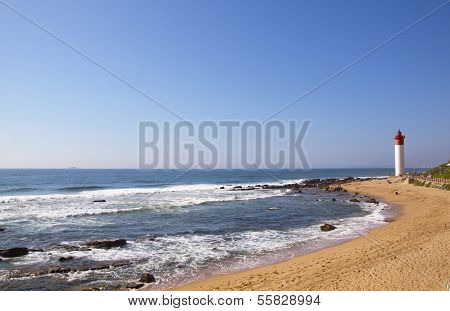 Seascape With Red And White Lighthouse At Umhlanga Rocks, Durban