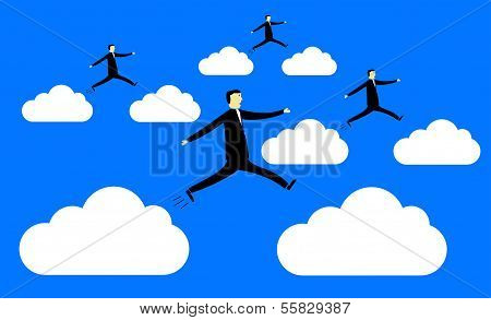 Businessmen Jumping From Cloud To Cloud