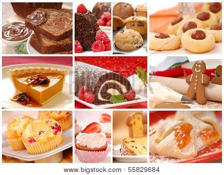 Collage showing a variety of delicious baked goods including cookies, pies, cakes, and muffins