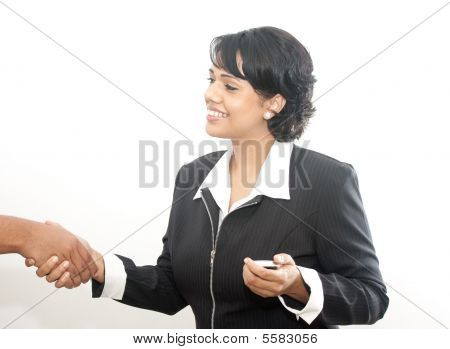 Corporate Indian Lady Shaking Hand