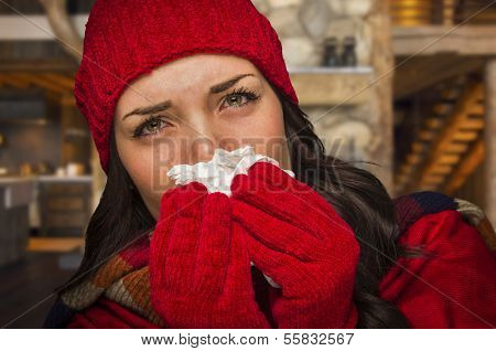 Miserable Sick Woman Inside Log Cabin Blowing Her Sore Nose With Tissue.