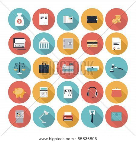 Finance And Market Flat Icons Set