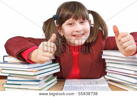 Schoolgirl, Schoolwork And Stack Of Books