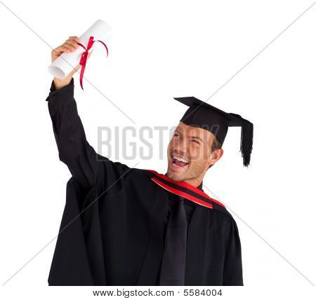 Excited Boy Celebrating His Graduation