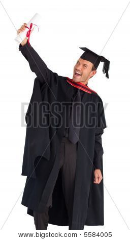 Happy Man Celebrating His Graduation