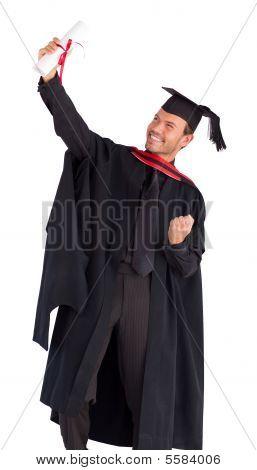 Happy Boy Celebrating With Success His Graduation