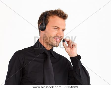 Businessman Speaking On A Headset