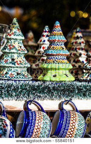 Colorful Ceramics In Traditonal Polish Market.