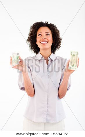 Smiling Businesswoman Holding Dollars And Looking Upwards