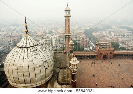 Worshippers visiting Masjid-i Jahan-Numa mosque in Old Delhi,India