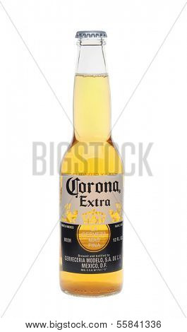 IRVINE, CA - January 11, 2013: Photo of a 12 ounce bottle of Corona Extra Beer. Corona, produced by Grupo Modelo with Anheuser Busch InBev, is the most popular imported beer in the US.